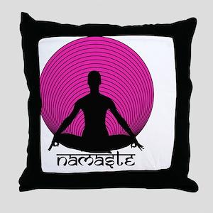Namaste-hot-pink Throw Pillow