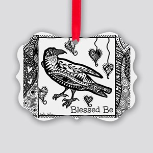 Blessed Be Raven B&W Picture Ornament