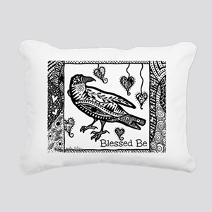 Blessed Be Raven B&W Rectangular Canvas Pillow