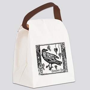 Blessed Be Raven B&W Canvas Lunch Bag