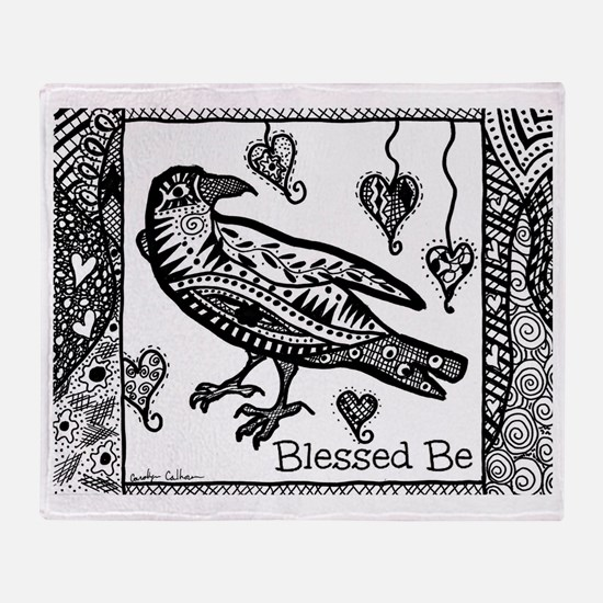 Blessed Be Raven B&W Throw Blanket