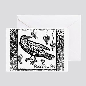 Blessed Be Raven B&W Greeting Card