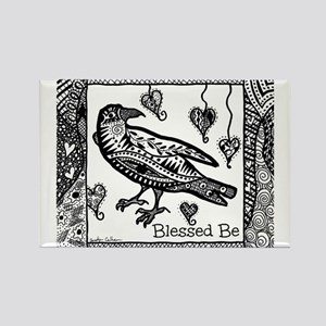 Blessed Be Raven B&W Rectangle Magnet
