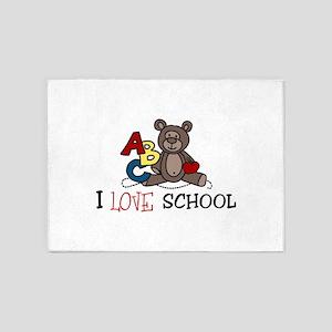 I Love School 5'x7'Area Rug