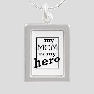 Mom Hero Silver Portrait Necklace