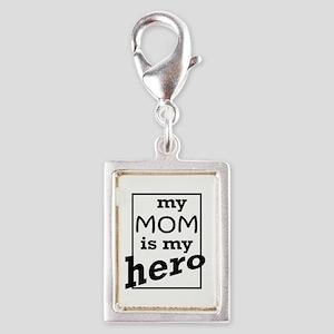 Mom Hero Silver Portrait Charm