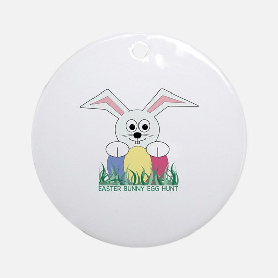 Easter Bunny Egg Hunt Ornament (Round)