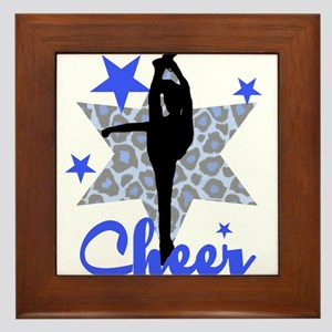 Blue Cheerleader Framed Tile