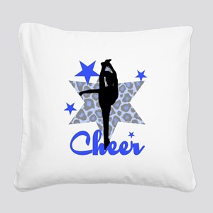 Blue Cheerleader Square Canvas Pillow