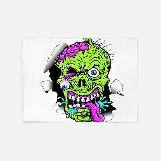 Green Zombie Head 5'x7'Area Rug