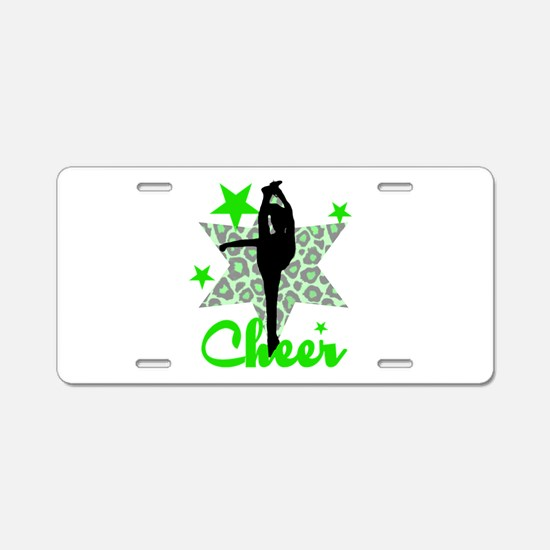 Green Cheerleader Aluminum License Plate