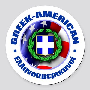 Greek-American Round Car Magnet