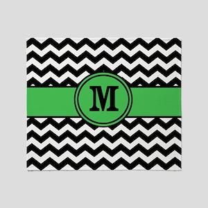 Black Green Chevron Monogram Throw Blanket