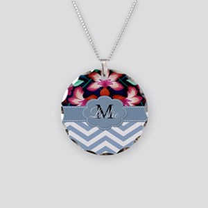 Monogram with ZigZag and Floral Necklace