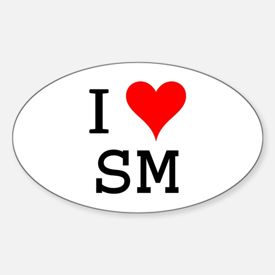 I Love SM Oval Decal
