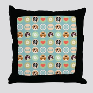 Dogs, Hearts, Paws, Flowers, Bones Throw Pillow