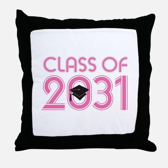 Class of 2031 Grad (striped) Throw Pillow