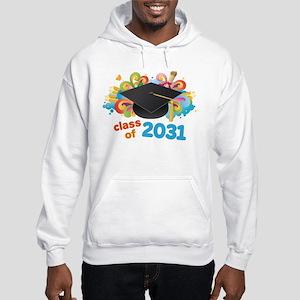 Class Of 2031 Grad Hat Logo Hoodie