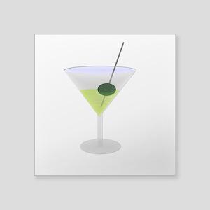 """Martini And Olive Square Sticker 3"""" x 3"""""""