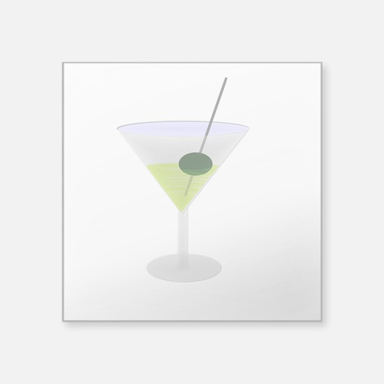 "Martini And Olive Square Sticker 3"" x 3"""
