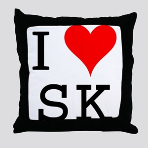 I Love SK Throw Pillow