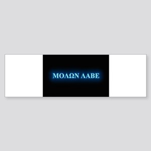 Oval - Molon Labe - Blue Glow Bumper Sticker