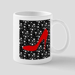 Red Heel on Black and White stars Mugs