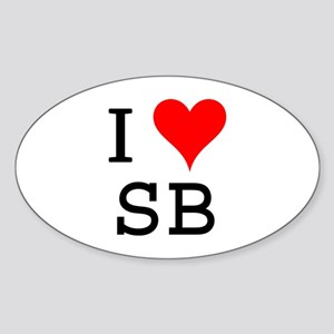 I Love SB Oval Sticker