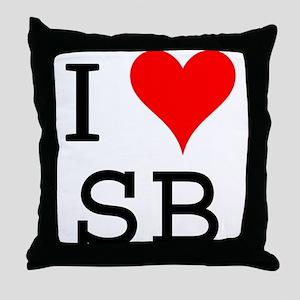 I Love SB Throw Pillow