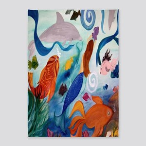 Mermaid And Tropical Fish 5'x7'area Rug
