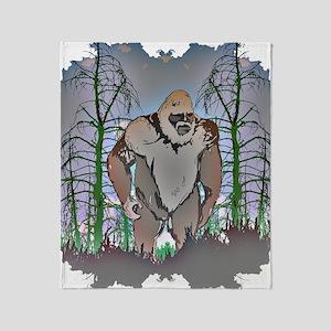 Bigfoot in timber Throw Blanket