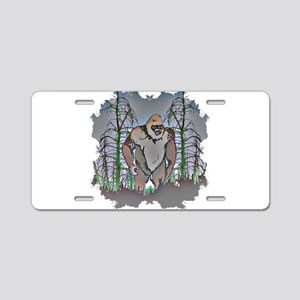 Bigfoot in timber Aluminum License Plate