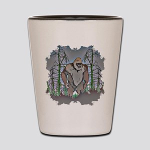 Bigfoot in timber Shot Glass