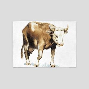 bull drawing 5'x7'Area Rug