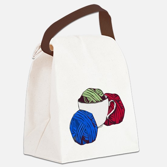 Cup and Yarn Canvas Lunch Bag