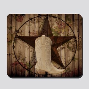 cowboy boots western country barn wood Mousepad