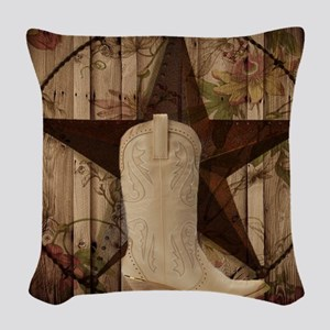 cowboy boots western country barn wood Woven Throw