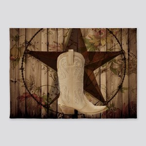 cowboy boots western country barn wood 5'x7'Area R