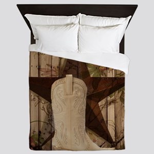 cowboy boots western country barn wood Queen Duvet