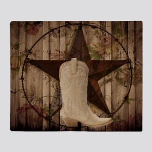 cowboy boots western country barn wood Throw Blank