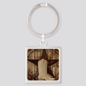 cowboy boots western country barn wood Keychains