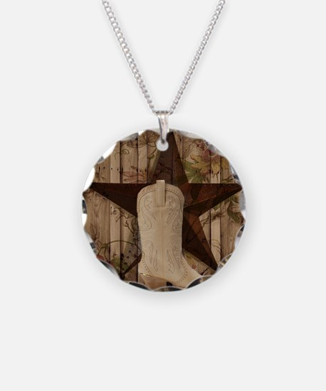 cowboy boots western country barn wood Necklace