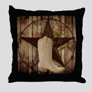 cowboy boots western country barn wood Throw Pillo