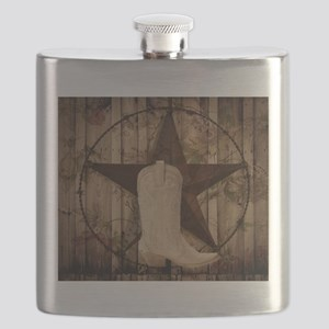 cowboy boots western country barn wood Flask