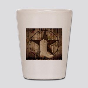 cowboy boots western country barn wood Shot Glass