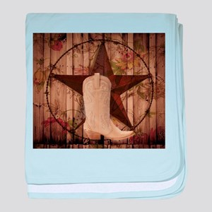 cowboy boots western country barn wood baby blanke