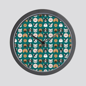 Cartoon Dogs on Teal Background Wall Clock