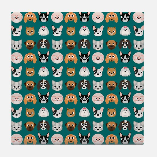 Cartoon Dogs on Teal Background Tile Coaster