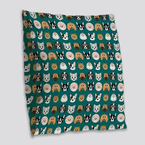 Cartoon Dogs on Teal Backgroun Burlap Throw Pillow
