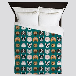 Cartoon Dogs on Teal Background Queen Duvet